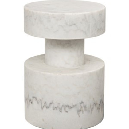 Carved White Stone Side Table
