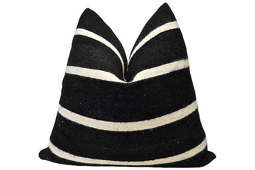 FI Berber Black & Natural Stripe Pillow