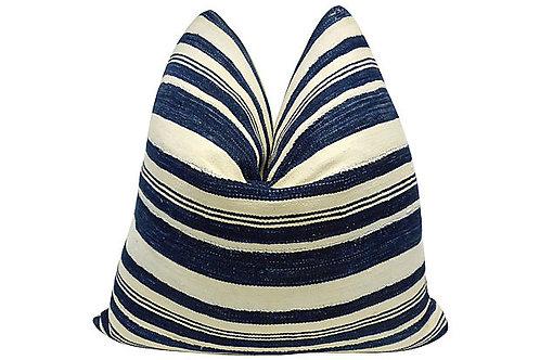 Mali Indigo Pillow w/ Vintage French Linen