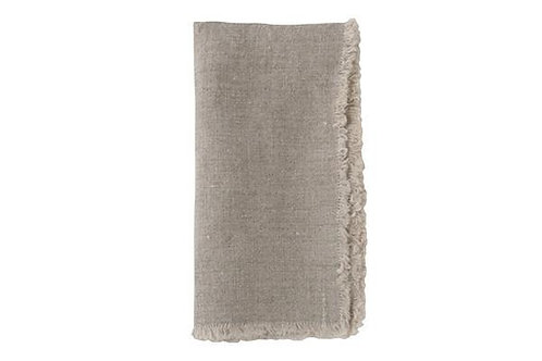 European Linen Fringed Flax Washed Linen Napkin