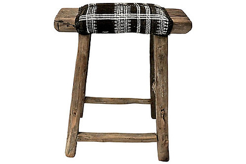 FI Antique Shandong Stool w/ India Wool