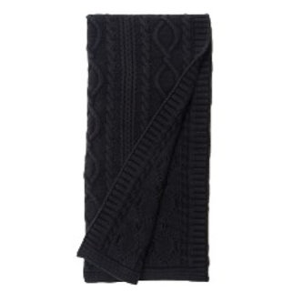 Garment Washed Faded Chunky Cable-Knit Throw