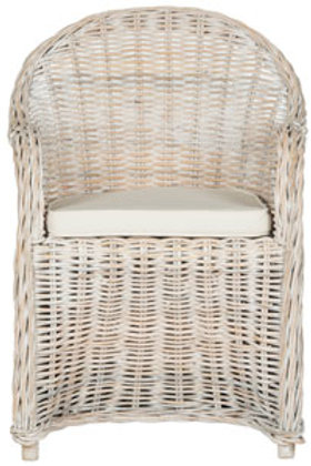 Whit washed Wicker Dining Chair