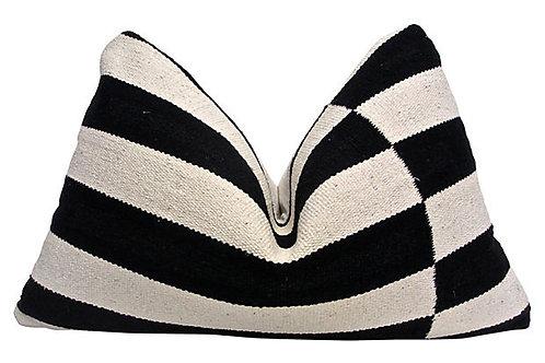 Woven Stripe & Antique French Linen Pillow