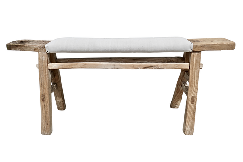 FI Antique Shandong Bench w/ Natural French Linen