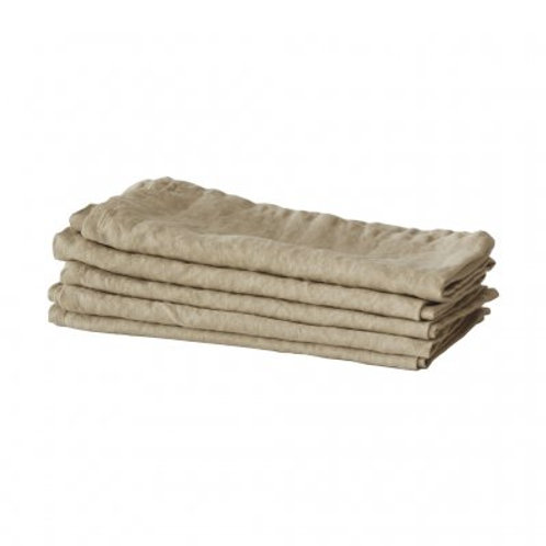 Garment-Washed Jute Linen Table Napkins, set/5