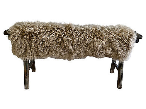 Antique Shandong Bench w/Camel Lambswool
