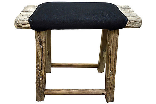 Antique Shandong Stool w/Black Linen