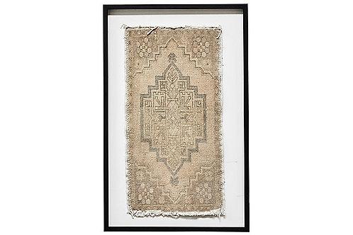 Framed Vintage Oushak Rug Textile