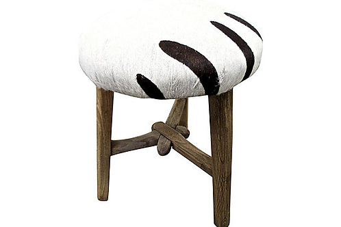 SOLD Vintage Shandong Stool w/Zebra Accent