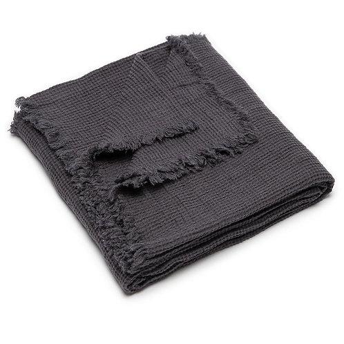 Dark Grey Waffle Linen Throw