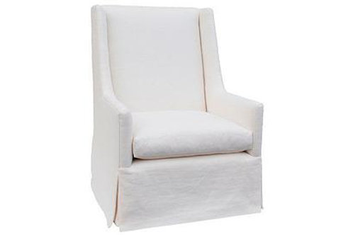 Custom Skirted Linen Slope-Arm Chair