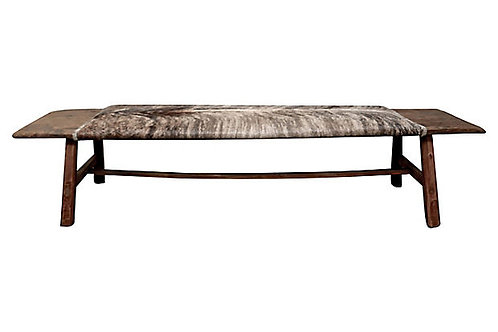 SOLD Asian Elm & Brindle Hide Bench/Ottoman