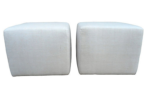 Vintage French Linen Cube Ottomans, Pair