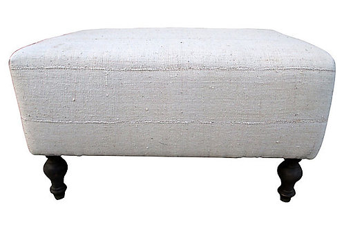 African Tribal Mud-Cloth Ottoman-Natural