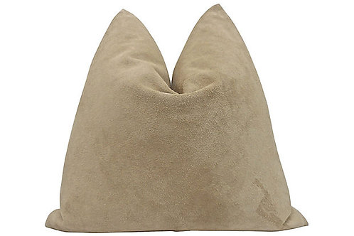 Aspen Ranch Buckskin Suede & Chambray Pillow