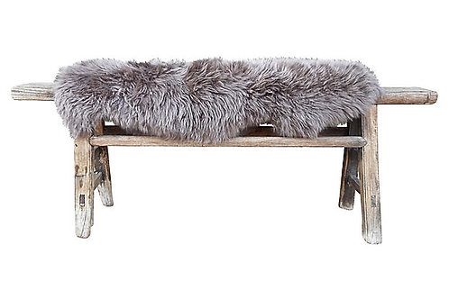 Antique Shandong Elm Bench w/ Lambswool