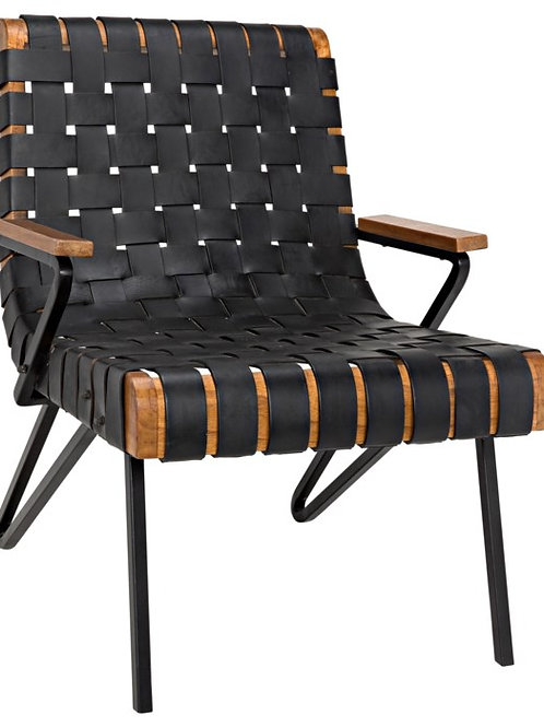 Woven Leather and Wood Chair