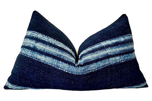 SOLD African Hand-Spun Indigo Blues Lumbar Pillow