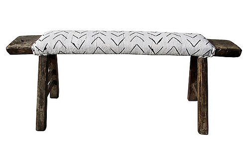 Antique Shandong Bench w/ African Mud Cloth