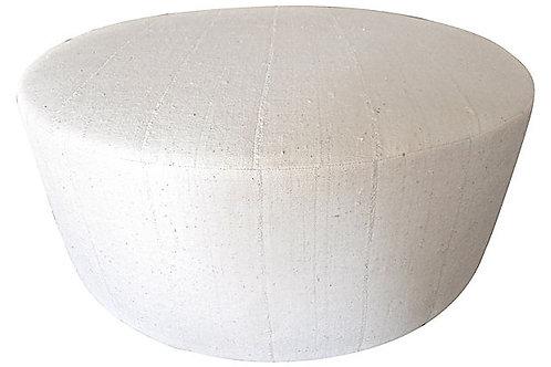 "Hand-Spun Natural Mudcloth 40"" Round Ottoman"