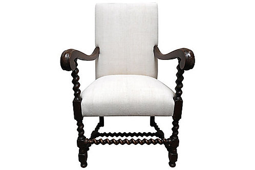 SOLD Vintage  Barley-Twist w/ French Antique Linen Chair