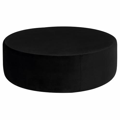 FI Black Linen Round Cocktail Ottoman