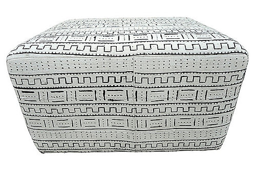 Black & White Organic Mud-Cloth Ottoman