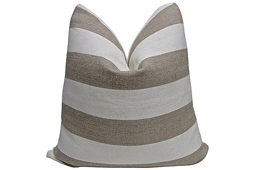 "Ivory Stripe Linen Pillow, 24""x24"""
