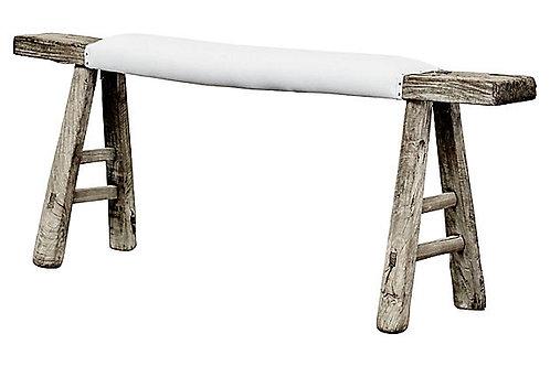 Antique Shandong Elm Bench w/ White Linen