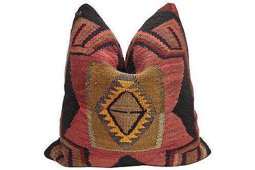 Vintage Anatolian Kilim Wool Pillow