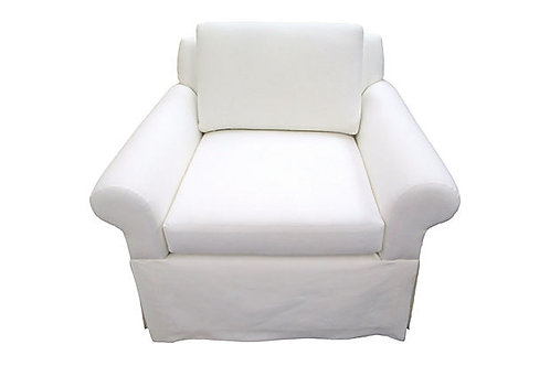 Custom White European Linen Skirted Club Chair