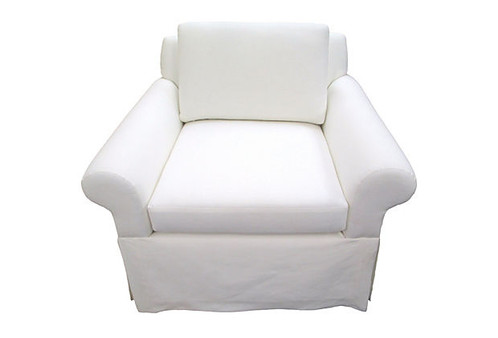 Merveilleux Custom Hand Built Skirted Club Chair Meticulously Upholstered In Crisp  White European Linen. Classic Comfort And Style With Ultra Plump  Down And Feather ...