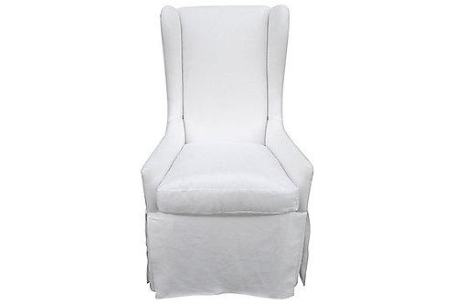 Custom Slope-Arm Skirted Wing Chair