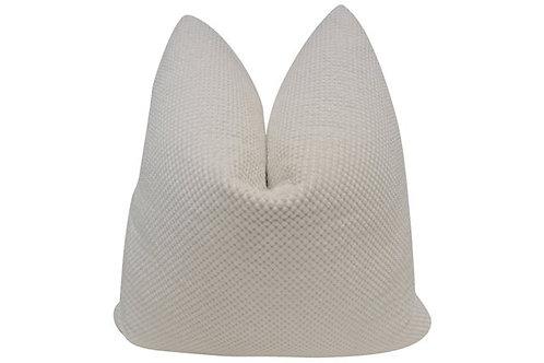 Nubby Chenille & White Linen Pillow
