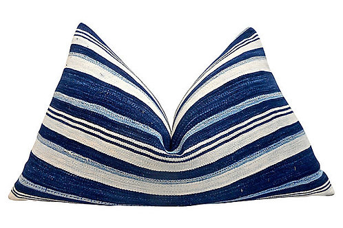 Vintage Tribal Indigo Stripe Pillow