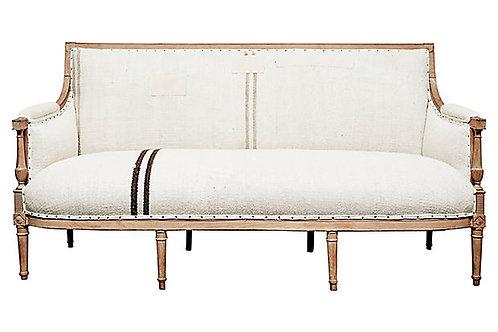 Antique Handwoven Kilim Hemp French Sofa