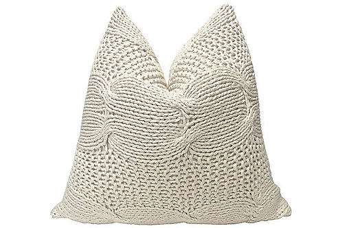 Natural Cable Knit & French Linen Pillow