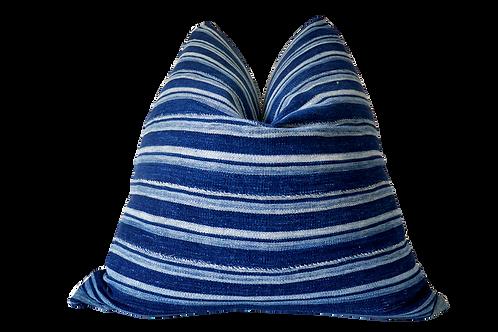 Vintage Mali Indigo Blues & Linen Pillow