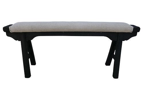 Antique Shandong Upholstered Elm Bench