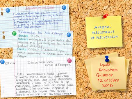 Aragon, la Résistance et des lycéens de Quimper