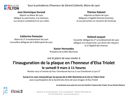 Une plaque en l'honneur d'Elsa Triolet
