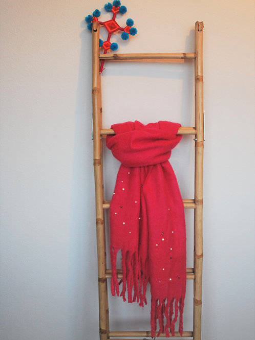 Roze zachte sjaal met parels