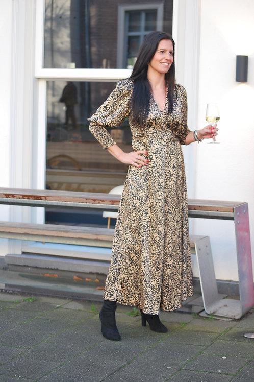 Lange jurk Ambika print Beige