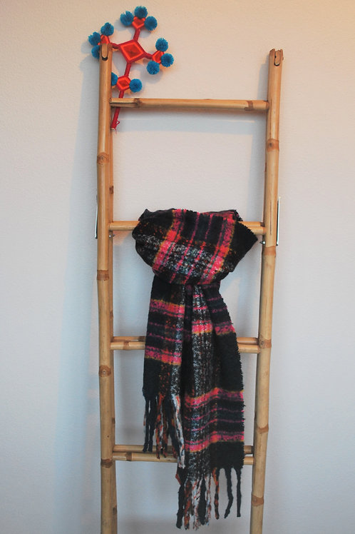 Sjaal donkerblauw  roze ruit