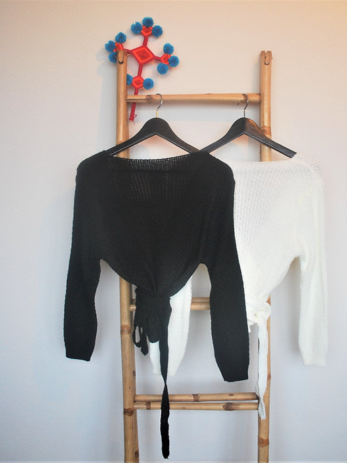 Wikkel vest one size Zwart of Wit