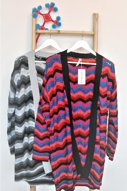 Oranje blauw paars zwart gestreept vest