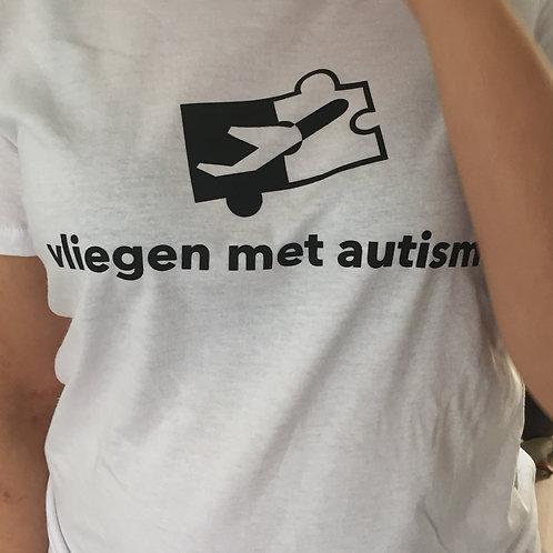 Vliegen met autisme T shirt ( Wit)