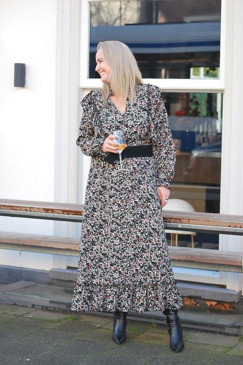 Lange jurk Ambika print zwart