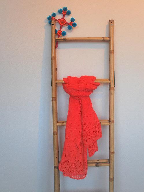 Sjaal lang met franje Koraal